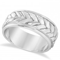 Men's Braided Band Eternity Ring 14k White Gold