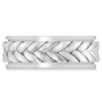 Men's Braided Band Eternity Ring 18k White Gold