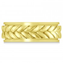 Men's Braided Band Eternity Ring 18k Yellow Gold