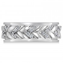 Men's Diamond Braided Band Eternity Ring 14k White Gold (0.20ct)