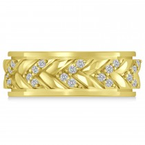 Men's Diamond Braided Band Eternity Ring 18k Yellow Gold (0.20ct)