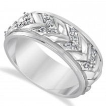 Men's Diamond Braided Band Eternity Ring Platinum (0.20ct)