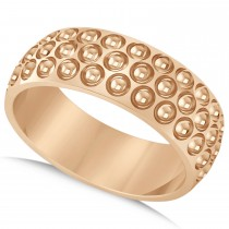 Men's Golf Ball Design Eternity Sports Band Ring 14k Rose Gold