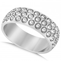 Men's Golf Ball Design Eternity Sports Band Ring 14k White Gold