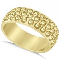 Men's Golf Ball Design Eternity Sports Band Ring 14k Yellow Gold