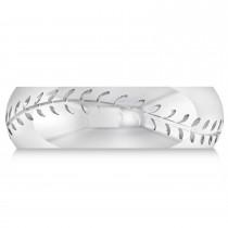 Men's Baseball Eternity Sports Band Ring 14k White Gold