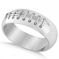 Men's Football Carved Sports Band Ring 14k White Gold