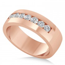 Men's Diamond Channel Set Ring Wedding Band 14k Rose Gold (0.49ct)