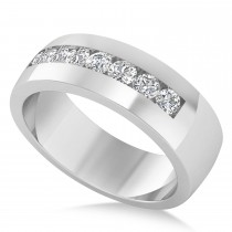 Men's Diamond Channel Set Ring Wedding Band 14k White Gold (0.49ct)