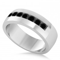 Men's Black Diamond Channel Set Wedding Band 14k White Gold (0.49ct)