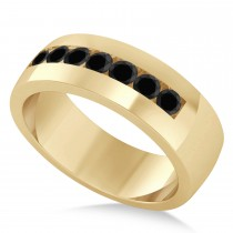 Men's Black Diamond Channel Set Wedding Band 14k Yellow Gold (0.49ct)