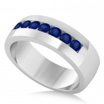 Men's Blue Sapphire Channel Set Wedding Band 14k White Gold (0.49ct)