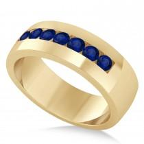 Men's Blue Sapphire Channel Set Wedding Band 14k Yellow Gold (0.49ct)
