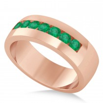 Men's Emerald Channel Set Wedding Band 14k Rose Gold (0.49ct)