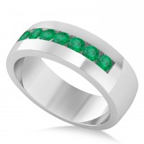 Men's Emerald Channel Set Wedding Band 14k White Gold (0.49ct)