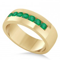 Men's Emerald Channel Set Wedding Band 14k Yellow Gold (0.49ct)