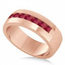 Men's Ruby Channel Set Wedding Band 14k Rose Gold (0.49ct)