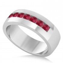 Men's Ruby Channel Set Wedding Band 14k White Gold (0.49ct)
