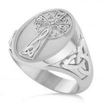 Men's Celtic Signet Irish Cross Ring 14K White Gold