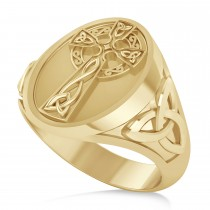 Men's Celtic Signet Irish Cross Ring 14K Yellow Gold