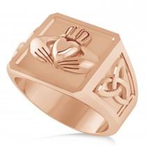 Men's Celtic Claddagh and Irish Trinity Signet Ring 14K Rose Gold