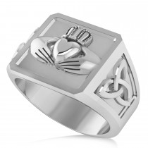 Men's Celtic Claddagh and Irish Trinity Signet Ring 14K White Gold