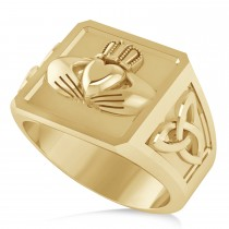 Men's Celtic Claddagh and Irish Trinity Signet Ring 14K Yellow Gold