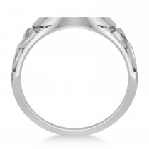 Customizable Celtic Knot Signet Ring Engravable in 14k White Gold