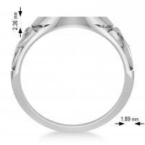 Customizable Celtic Knot Signet Ring Engravable 14k White Gold