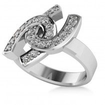 Diamond Double Horseshoe Men's Ring 14k White Gold (0.66ct)