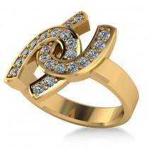 Diamond Double Horseshoe Men's Ring 14k Yellow Gold (0.66ct)