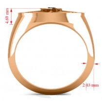 Men's Black Diamond Nautical Compass Ring 14k Rose Gold (0.25ct)
