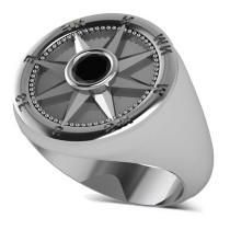 Men's Black Diamond Nautical Compass Ring 14k White Gold (0.25ct)