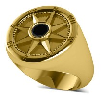Men's Black Diamond Nautical Compass Ring 14k Yellow Gold (0.25ct)