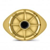 Men's Black Diamond Nautical Compass Ring 14k Yellow Gold (0.25ct)