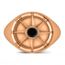 Men's Black Diamond Nautical Compass Ring 18k Rose Gold (0.25ct)