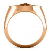 Men's Black Diamond Nautical Compass Ring 18k Rose Gold (0.25ct)