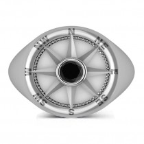 Men's Black Diamond Nautical Compass Ring 18k White Gold (0.25ct)