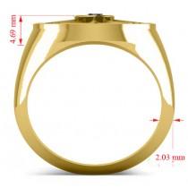 Men's Black Diamond Nautical Compass Ring 18k Yellow Gold (0.25ct)