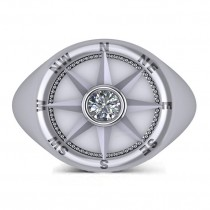 Men's Diamond Nautical Compass Fashion Ring 14k White Gold (0.25ct)