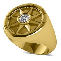 Men's Diamond Nautical Compass Fashion Ring 14k Yellow Gold (0.25ct)