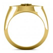 Men's Diamond Nautical Compass Fashion Ring 14k Yellow Gold (0.25ct)
