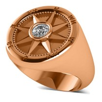 Men's Diamond Nautical Compass Fashion Ring 18k Rose Gold (0.25ct)