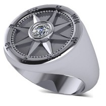Men's Diamond Nautical Compass Fashion Ring 18k White Gold (0.25ct)