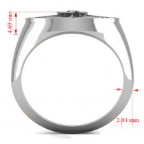 Men's Diamond Nautical Compass Fashion Ring 18k White Gold (0.25ct)