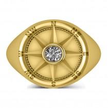 Men's Diamond Nautical Compass Fashion Ring 18k Yellow Gold (0.25ct)