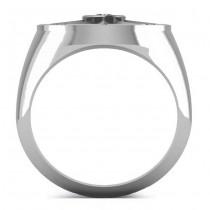Men's Diamond Nautical Compass Fashion Ring Platinum (0.25ct)