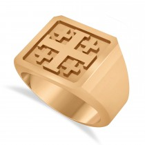 Men's Jerusalem Cross Signet Ring 14k Rose Gold