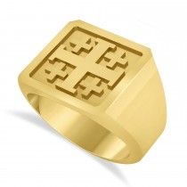 Men's Jerusalem Cross Signet Ring 14k Yellow Gold