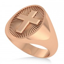 Men's Holy Cross Fashion Ring 14k Rose Gold